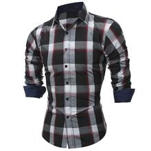 2017 Fashion Brand shirt Autumn Plaid Men Slim Dress shirt Long Sleeve Casual Social Male Shirt high quality camisa masculina YJ