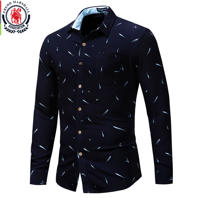 Fredd Marshall Autumn 2018 New Long Sleeve Casual Business Mens Dress Shirt All Over Printed Luxury Shirt Brand Mens Clothes 178