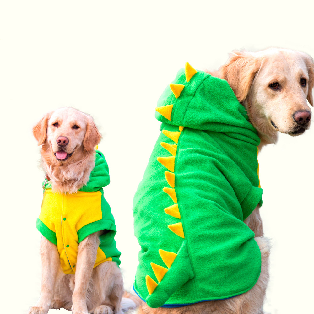 Big large Pet Dog Dinosaur Halloween cosplay costume warm Fleece winter Dog Clothes jacket jumpsuit coat for golden retrieve