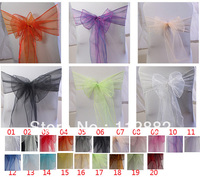 Free Shipping 50pcs Lot Organza Chair Sashes Chair Bow Cover For Wedding Party Banquet Decoration Wholesale