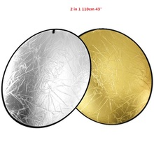 High Quality 2-in-1 110cm 43″ Portable Collapsible Light Round Photography Reflector for Studio Multi Photo Disc
