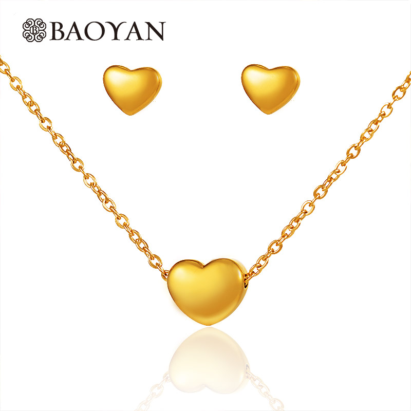 Baoyan Vintage Gold Plating Stainless Steel Necklace Earrings Set Set Smooth Gold Heart Wedding Wedding Jewelry Set For Women