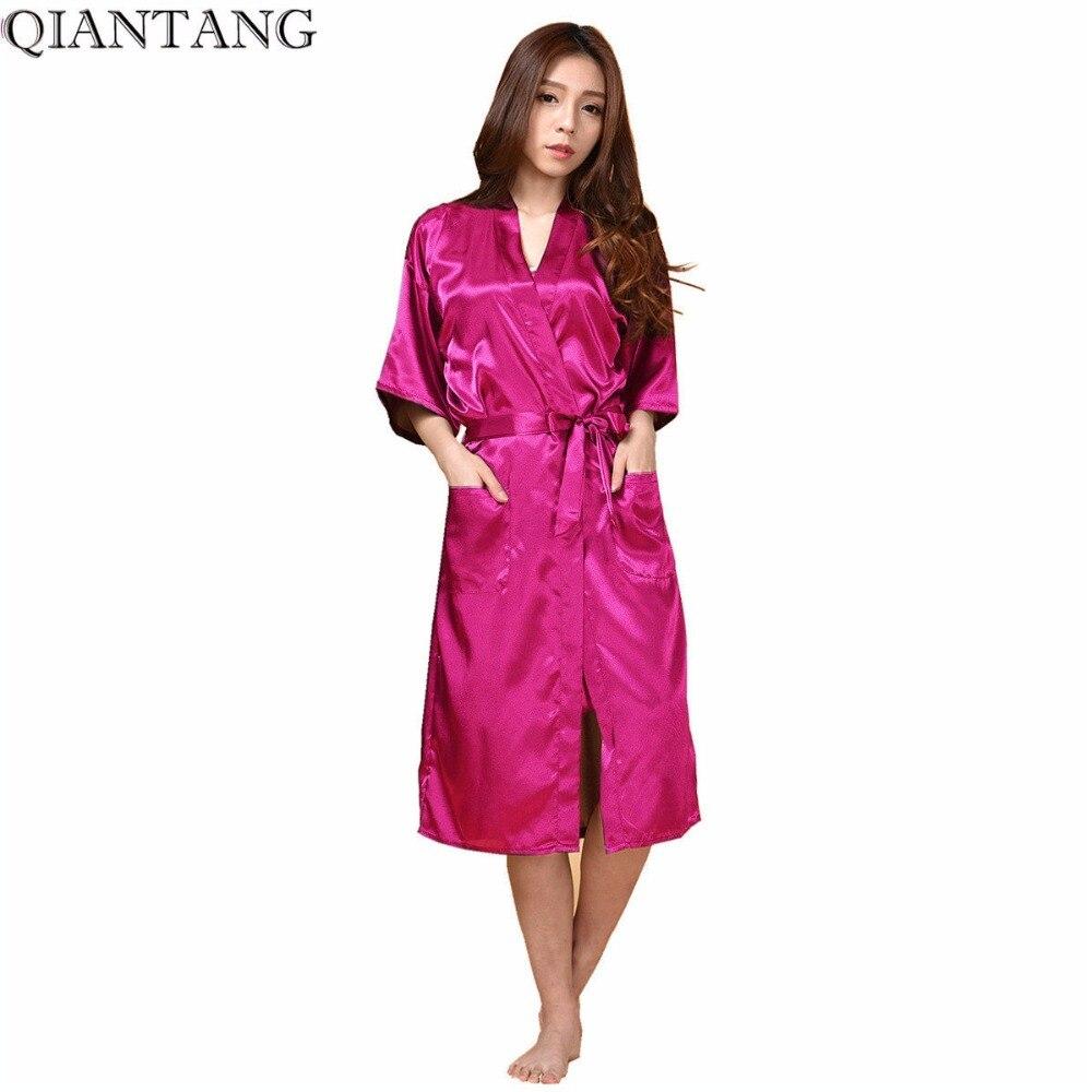 HOT Pink Womens Bath Robe Faux Silk Kimono Lady Gown Sleepwear Nightgown Mujere Pijama Plus Size S M L XL XXL XXXL LS003C