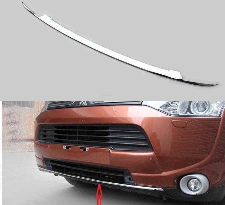 ФОТО for Mitsubishi Outlander 2013 2014 Chrome front bumper Bottom Lip trim molding