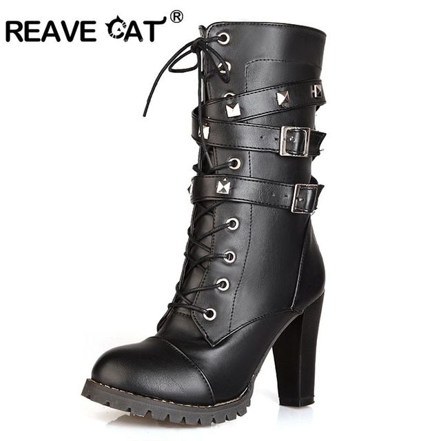 $ US $27.98 REAVE CAT Women mid calf boots Thick High heels Round Platform Buckle Zipper Rivets Lace up Leather High boots Woman 43 QA3646
