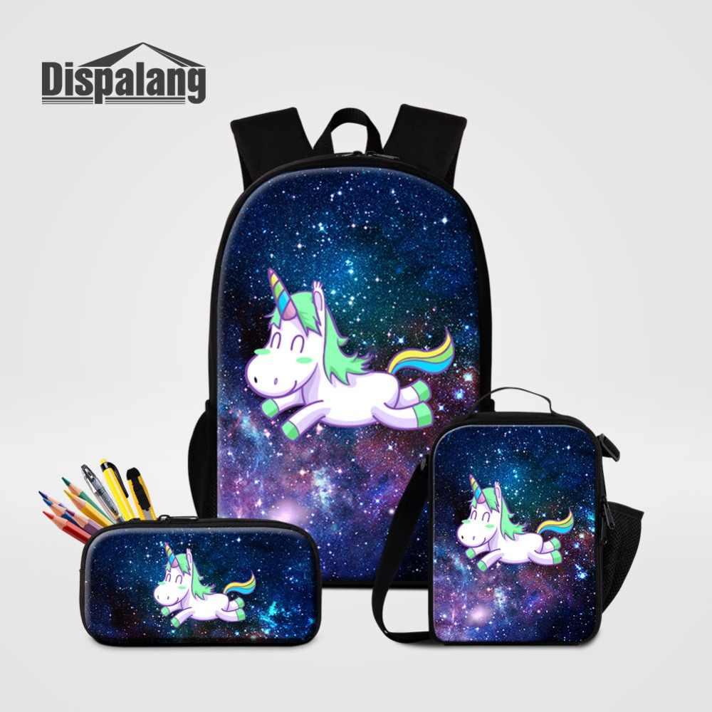 5084378b9e55 3 шт. комплект сумки для школы Вселенной пространство Единорог узор рюкзак  Ланчбокс ручка коробки для