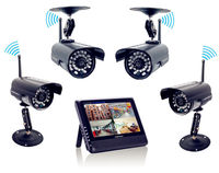 2 4GHz Wireless 4CH Home Security Kit 4 Digital Outdoor Waterproof Camera 7 TFT Quad DVR