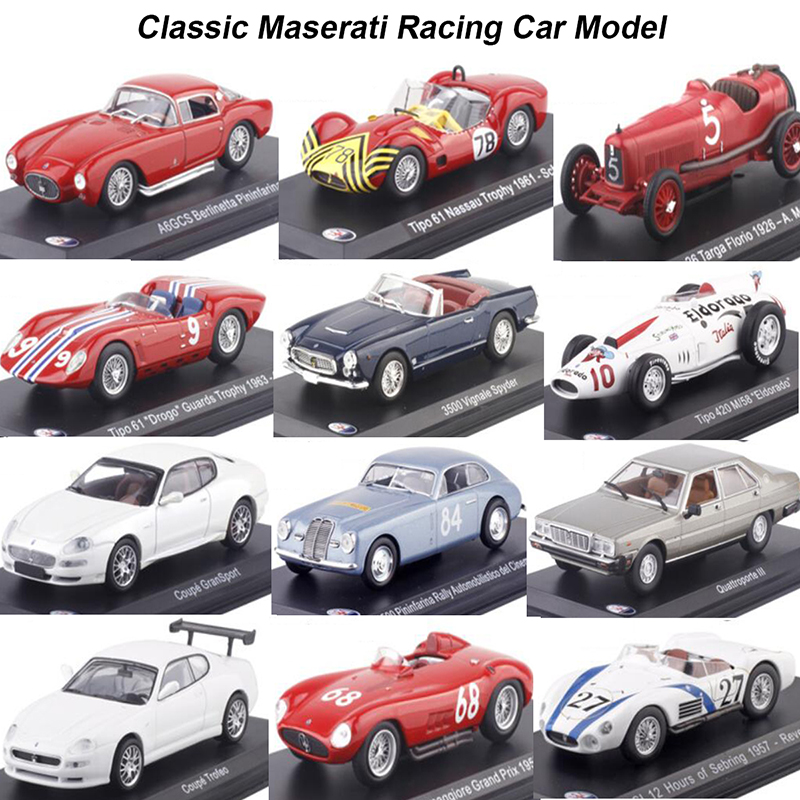 1:43 Scale Metal Alloy Classic Maserati Racing Rally Car Model Diecast Vehicles Toys For Collection Display Not For Kids Play