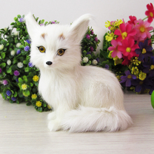 Simulation white fox  polyethylene&furs fox model funny gift about 11cmx8cmx15cm