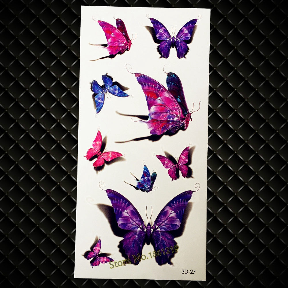 New Beauty Makeup Flash 3D Tattoo Purple Butterfly Design Waterproof Temporary Tattoo Sticker Sexy Women Arm Leg Fake Tatoo GD27