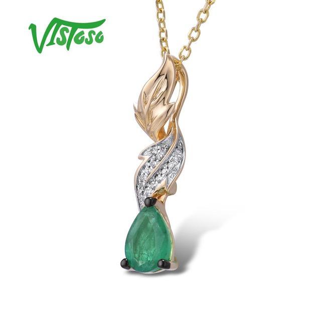 VISTOSO Gold Pendants For Women Authentic 14K 585 Yellow Gold Magic Emerald Sparkling Diamond Chic Necklace Pendant Fine Jewelry 2