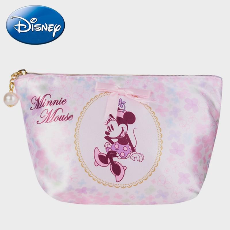 Disney New Minnie Mouse Girl Cosmetic-Organizer Bags Women Travel Handbag Makeup Bag Wallet Zipper Clutches Portable Clutch  Box