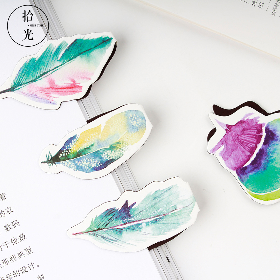 2 Pcs/pack Feather Magnet Bookmark For Book Colorful Paper Clip School Office Supplies Escolar Papelaria Gift Stationery
