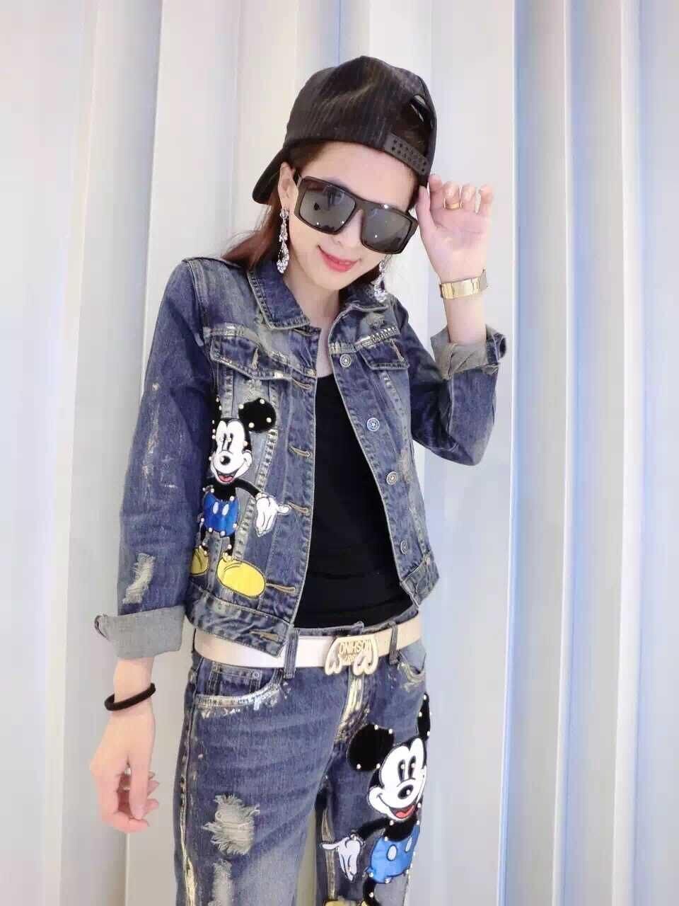 Style européen femmes printemps 2 ensembles dames belle Mickey perle court vestes manteau + montrer mince Jeans ensemble étudiant mode costume