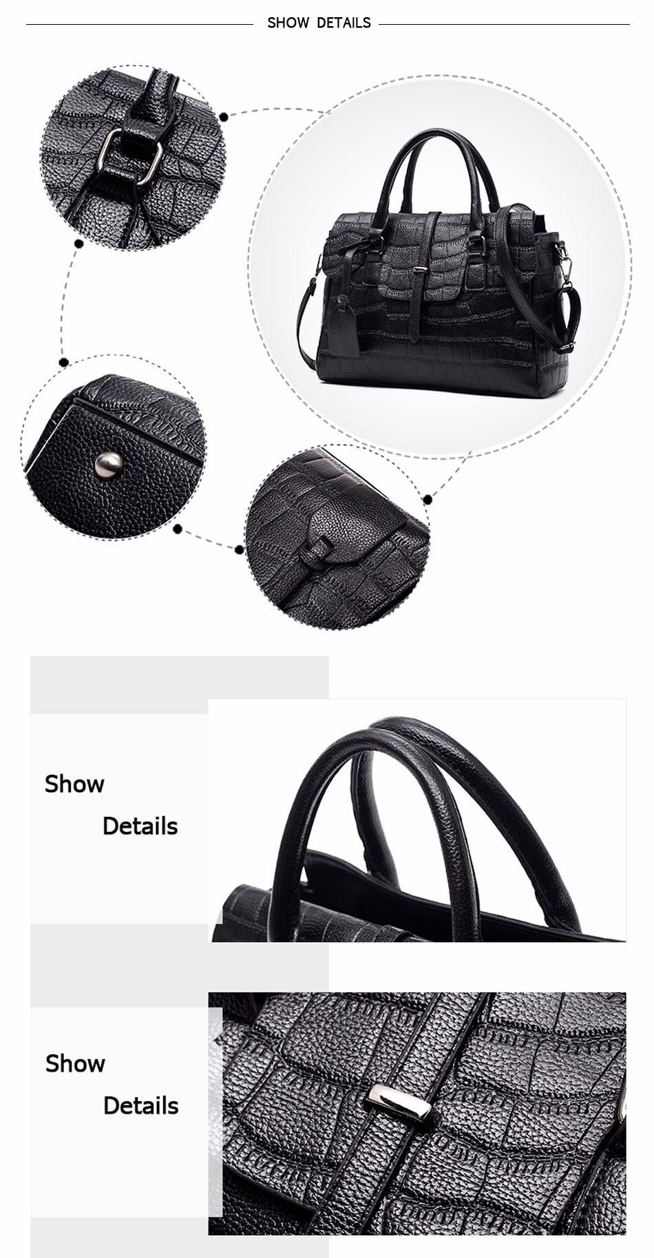 High Quality PU Leather Women's Handbags Shoulder Bag Ladies Hand Bags Stone Casual Women Bag Large Capacity Handbag 17 Sac 13