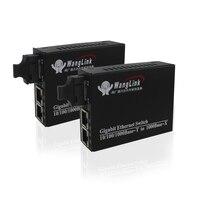 Gigabit 1 fiber Port 2RJ45 10/100/1000 ethernet port fiber optic transceiver fiber media converter 1pair