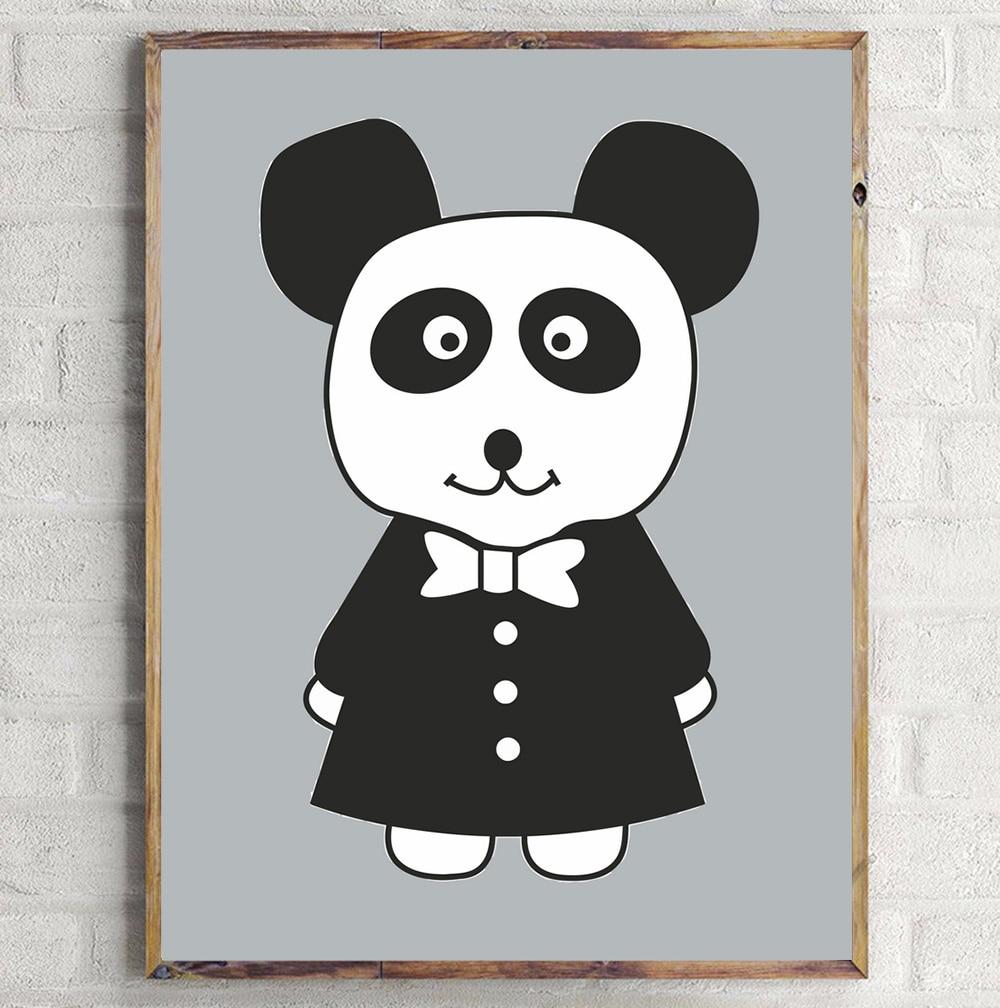 Sevimli cizgi filmi Dovşan Panda Minimalist İncəsənət Kətan - Ev dekoru - Fotoqrafiya 4