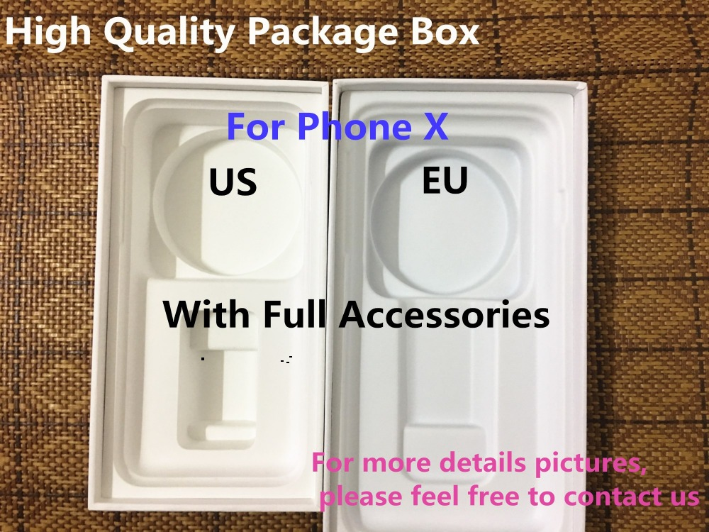 20pcs High Quality US EU Version Phone Packaging Packing Box Case For iPhone X With Full