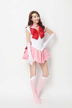 2020 New Anime Sailor Moon Cosplay Costume Chibi Moon Fancy Dress Outfit Halloween Party Costumes for Women/Kids Custom Any Size 2