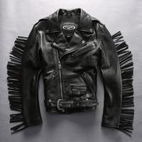 HARLEY ANGEL Motorcycle Biker Jacket Genuine Leather Jacket Men Cowskin Tassel Short Slim Fit Black Real Leather Coat