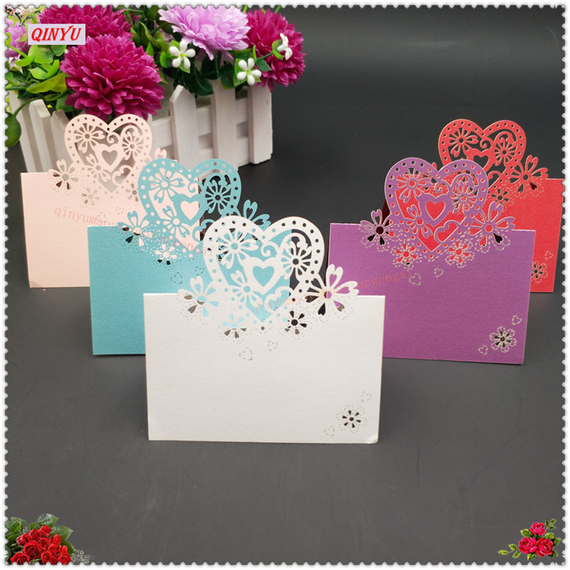 50pcs love heart shaped table place name cards wedding