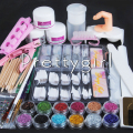 Acrylic Powder Fine Glitter Sanding File Buffer Brush Dispenser Rhinestones Tweezer Cutter Uv Acrylic Art Manicure Set Kit