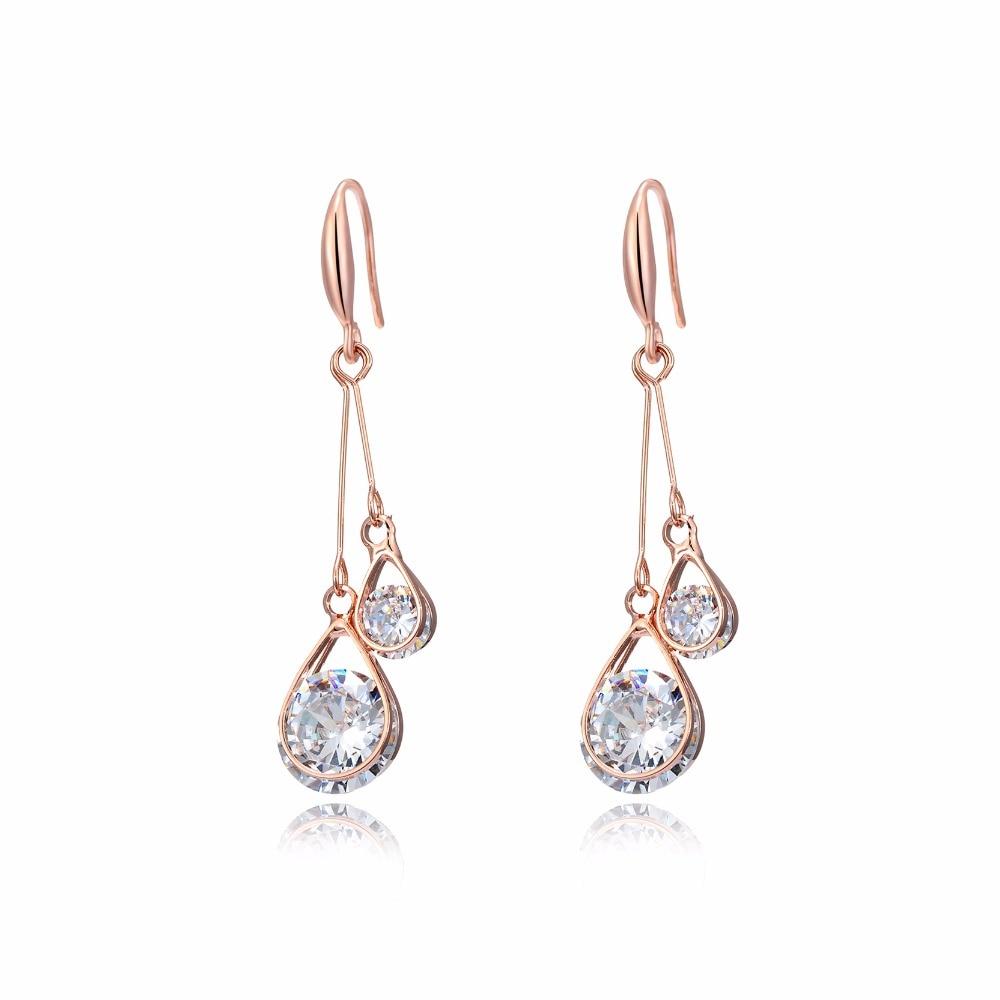 DROLE Fashion Jewelry 2017 Long Drop Dangle Earrings Rose Gold Color Zircon Hollow Ball Water Drop For Women Wedding Party