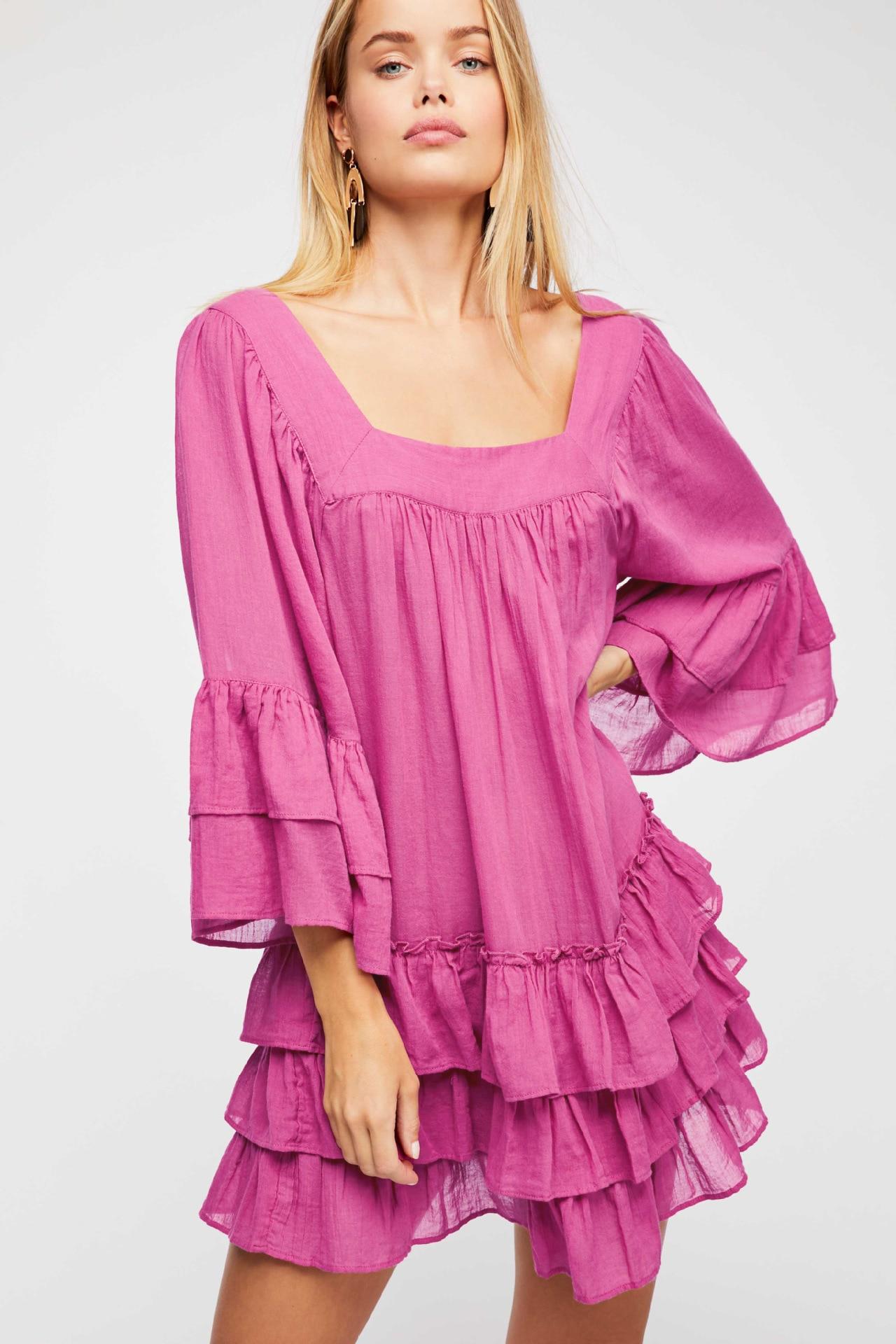 2018 Women's Cotton Dress Square Collar Ruffles Loose Dress Ethnic Holiday Vestidos Flare Sleeve Sexy Mini Dress Boho Robes