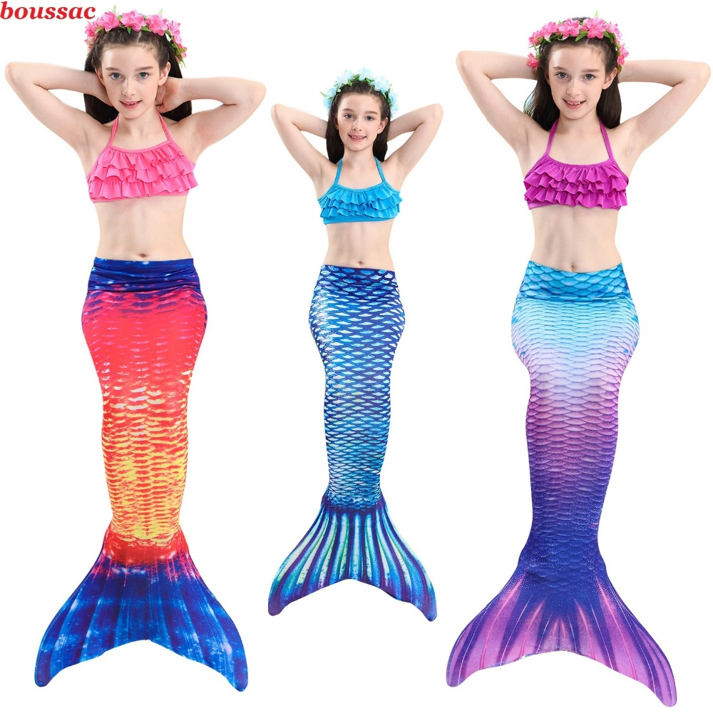2019 New Kids Princess Mermaid Tail Costume Swimmable Bikini Girls Mermaid Swimsuit Mermaid Tail with Fin Monofin Flippers