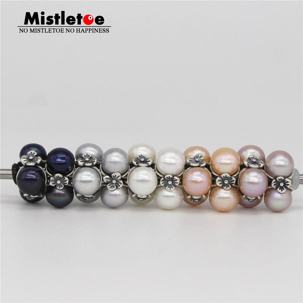 Mistletoe 925 Sterling Silver Triple Pearl, White Charm Natural Black Gray Pink Purple Pearl Bead Fit Troll 3.0mm Bracelet
