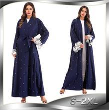 Plus Size Robe Malaysia Abaya Dubai Kaftan Women Beading Pearl Lace Kimono Cardigan Muslim Hijab Dress Turkish Islamic Clothing pearl beading kimono sleeve crushed velvet tee