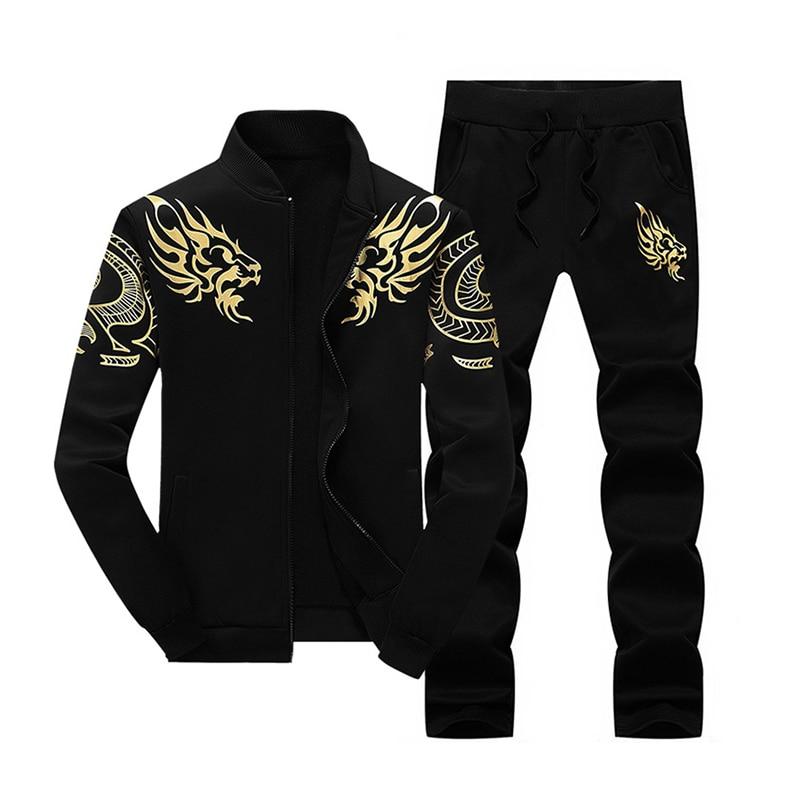 Fashion Men's Autumn Set Two Pieces Casual Print Dragon Tracksuit Male Sweatshirts And Pants Suit Fleece Clothing Plus Size 4X