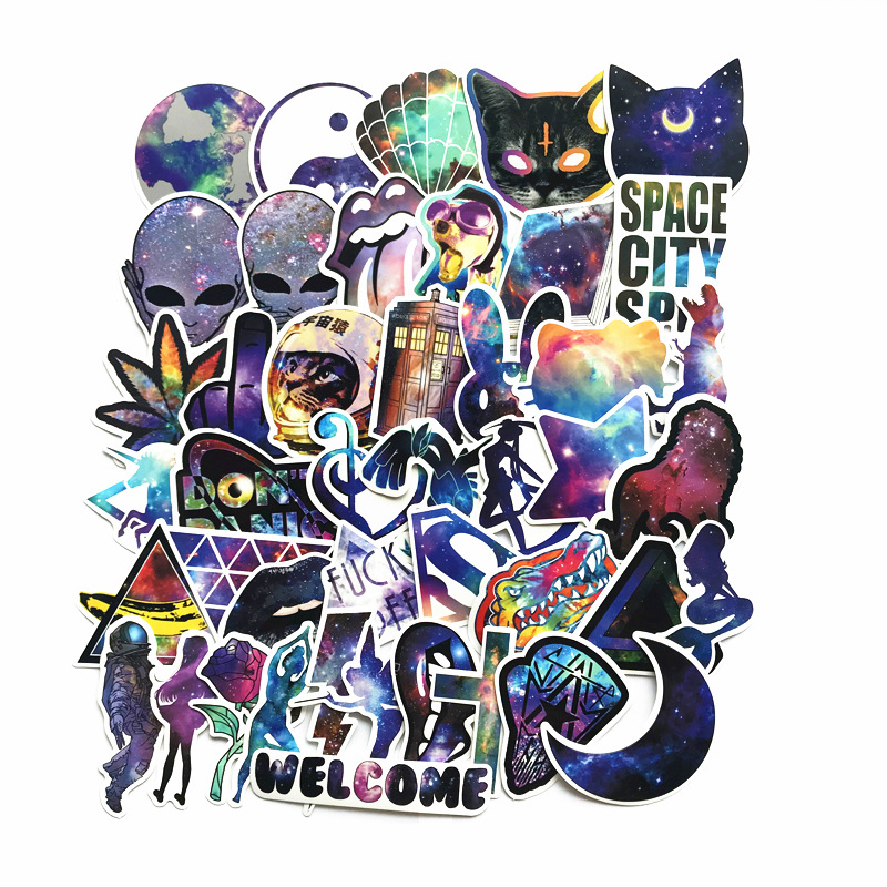 42Pcs/Lot New Waterproof Galaxy Colar Funny Laptop Sticker For Trunk Snowboard Guitar Fridge Decal Car-Styling Toy Stickers