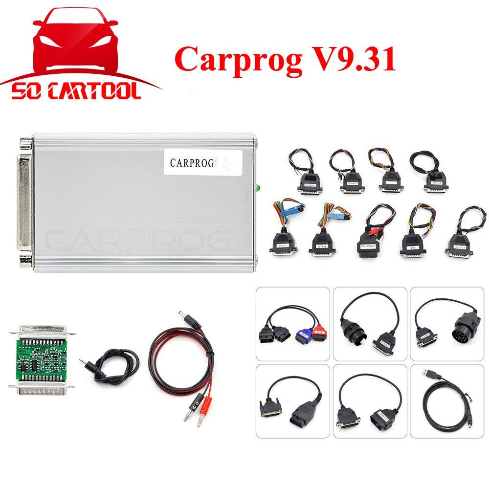 ФОТО CARPROG Full Set V9.31 Programmer Auto Repair Airbag Reset Tools Car Prog ECU Chip Tuning Full 21 Adapters Free Shipping