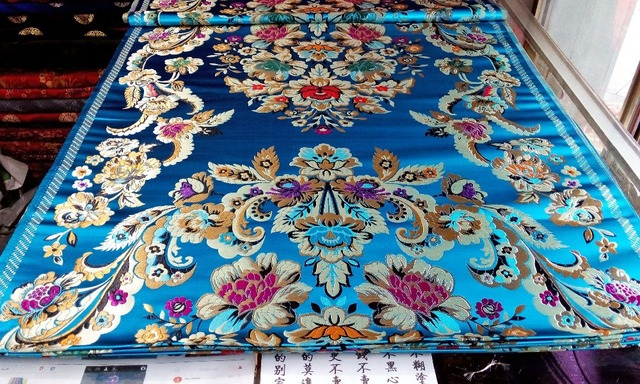 11d0e73ed99 chinese traditional 75CM Polyester brocade lake blue back with red gold  green blue big leaf and