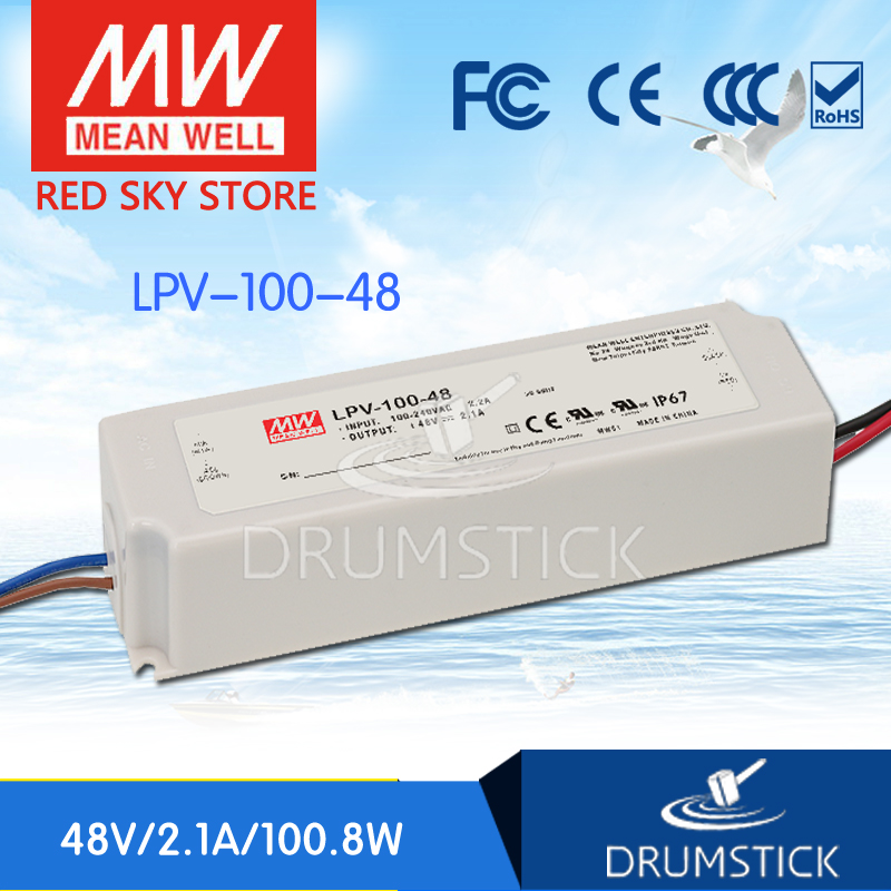 Selling Hot MEAN WELL LPV-100-48 48V 2.1A meanwell LPV-100 48V 100.8W Single Output LED Switching Power Supply genuine mean well lpv 100 15 15v 6 7a meanwell lpv 100 15v 100 5w single output led switching power supply
