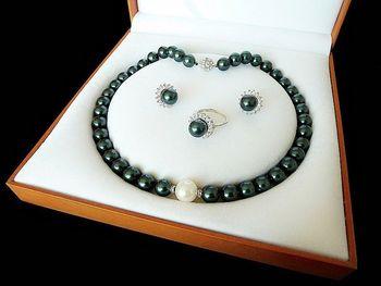 Envío gratis 07701 negro verde shell de la perla de lujo anillo pendiente y collar conjunto (A0423)