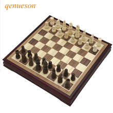 Hot Top Quality Wood Chess Game Set Solid Chessboard 28*28cm International Classic Coffee Table Wooden Board qenueson
