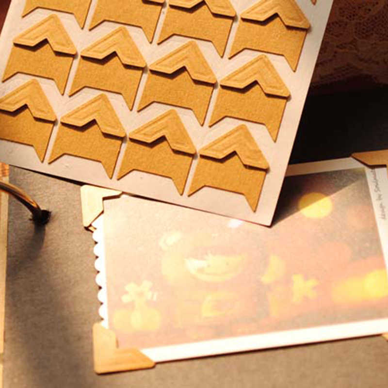 120 pcs/lot(5 sheets) New DIY Vintage Corner kraft Paper Stickers Scrapbooking  Photo Albums Frame Decoration