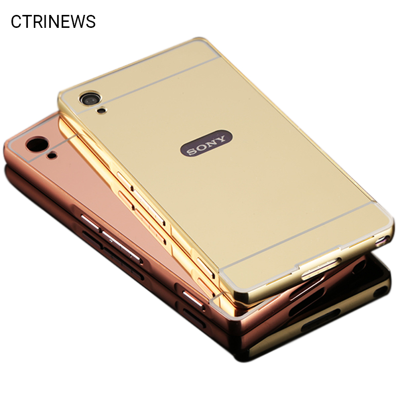 Case For Sony Xperia M4 aqua M5 XA Z1 Z2 Z3 Compact Luxury Mirror Armor Cases Aluminum Frame For Xperia Z2 Phone Back Cover Capa