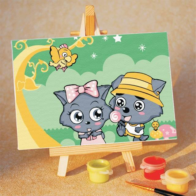 Wolf Family Toy : Cartoon wolf family oil painting diy paint by numbers