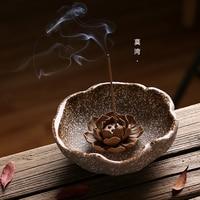 Pottery Lotus Chinese Incense Holder Jindezhen Ceramic Handmade Stick Buddhist Incense Burner Santalwood Aromatherapy