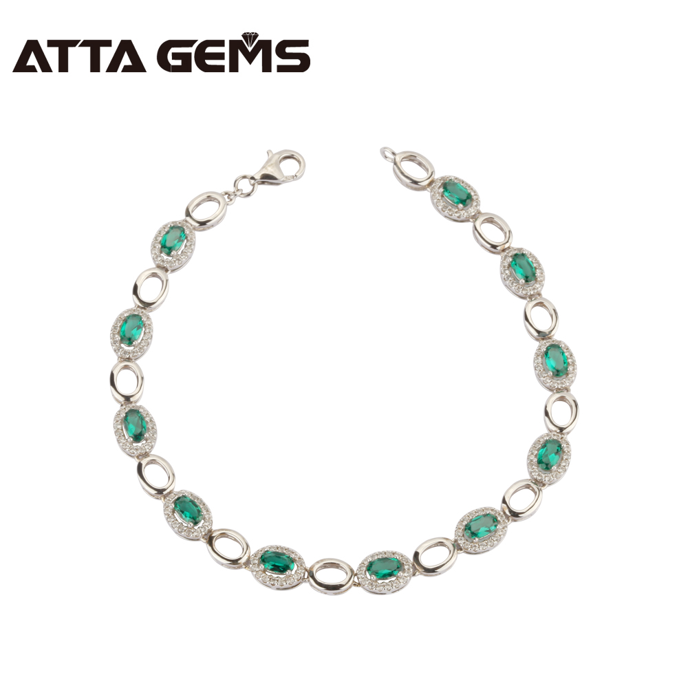 Green Emerald 925 Sterling Silver Bracelet 3.35 Carats Emerald in 3mm*5mm Royal and Luxury Top Quality