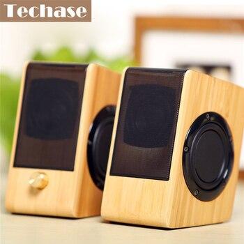 Techase-Altavoces De bambú Para Ordenador, cajas HiFi, minialtavoz, Para PC, Haut Parleur...