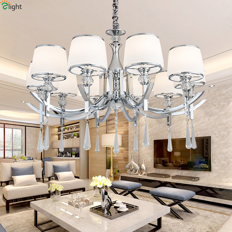 Modern Lustre Chrome Led Chandeliers Lighting Living Room Glass Led Pendant Chandelier Lights Dining Room Hanging Lamp Fixtures modern lustre blue glass led chandeliers lighting copper living room led pendant chandelier lights dining room led hanging light