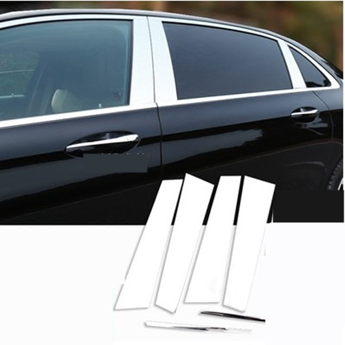 6pcs/set For Mercedes benz W205 C Class 2015 2016 20Polished Aluminum Alloy B C Window Pillar Post Trim Kit Cover Trim Accessory
