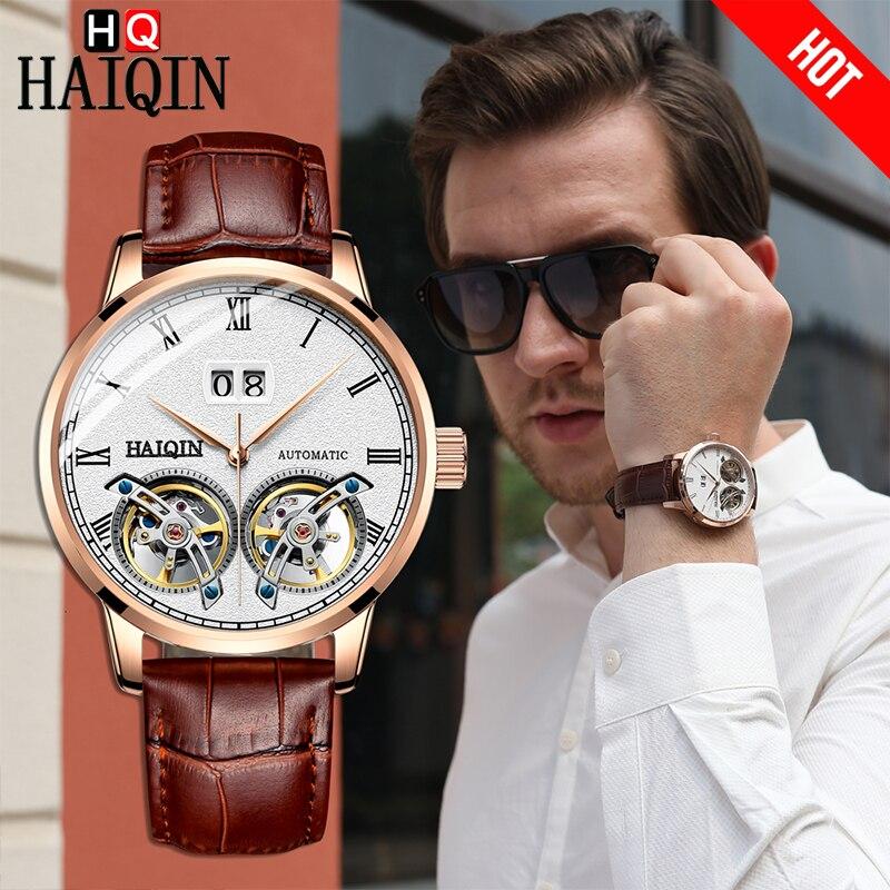 HAIQIN Top marque de luxe hommes montre mécanique 50 m étanche affaires montre givré Tourbillon homme montre-bracelet Relogio Masculino