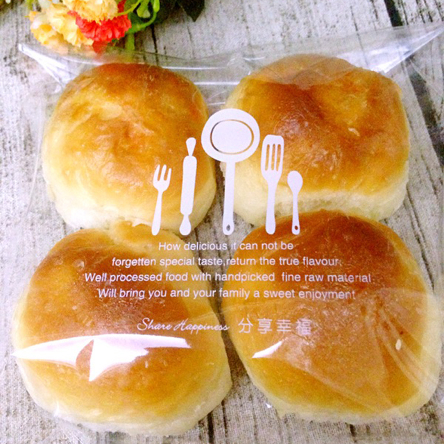 100pcs Free shipping Baked goods Sealed bags Toast bread bag bakery Take-out bags Bakery packaging Plastic bag