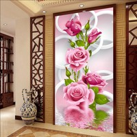 Free Shipping 3D Circle Circle Rose Mural Living Room Restaurant Hotel Entrance Wallpaper Aisle Background Decorative