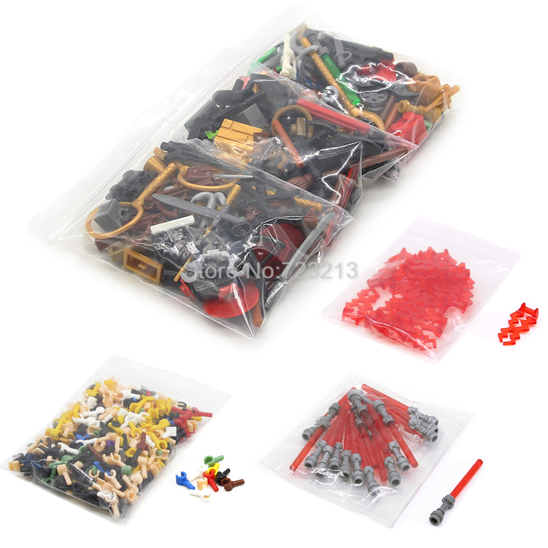 A Bag Random Legoinglys Figure Part MOC Lightsaber Weapon Football Accessories Pumpkin Christmas SWAT Building Brick Kits Toys